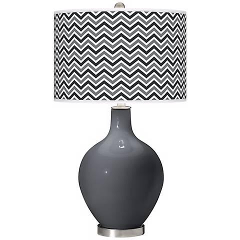Black of Night Narrow Zig Zag Ovo Table Lamp