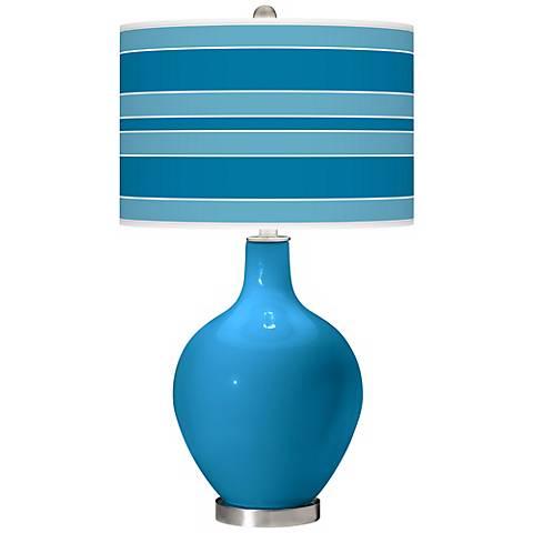 River Blue Bold Stripe Ovo Table Lamp