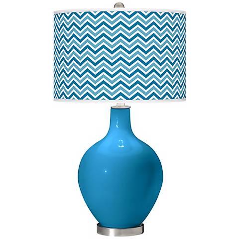 River Blue Narrow Zig Zag Ovo Table Lamp
