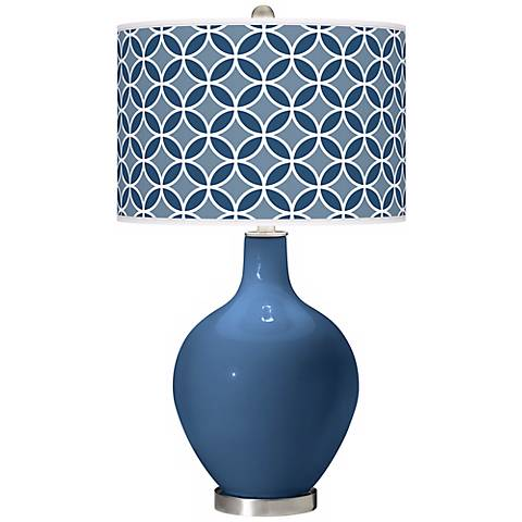 Regatta Blue Circle Rings Ovo Table Lamp