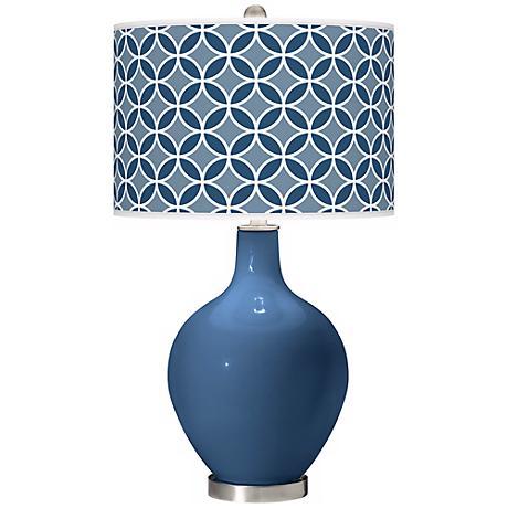 Regatta Blue Circle Rings Ovo Table Lamp