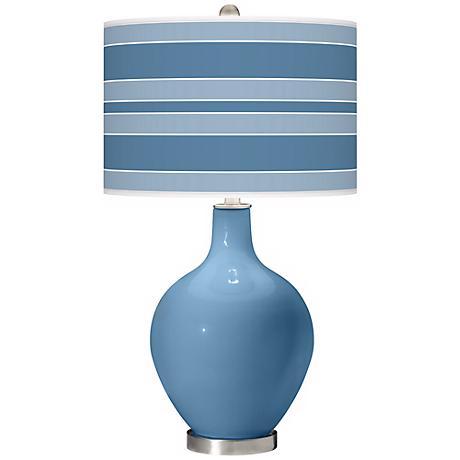 Secure Blue Bold Stripe Ovo Table Lamp