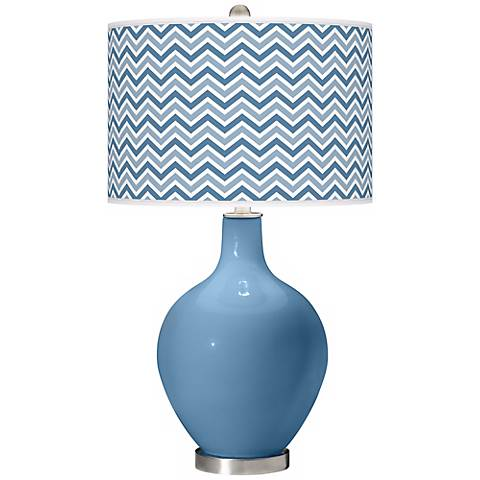 Secure Blue Narrow Zig Zag Ovo Table Lamp