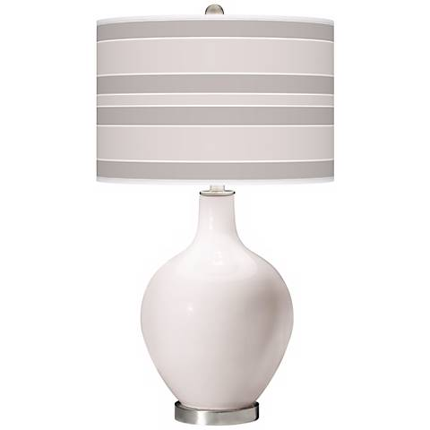 Smart White Bold Stripe Ovo Table Lamp