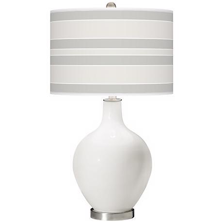Winter White Bold Stripe Ovo Table Lamp