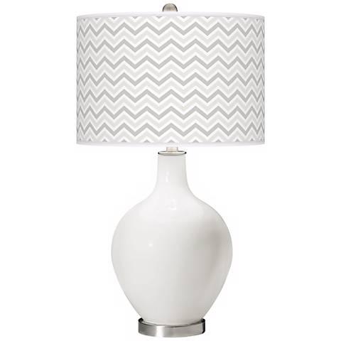 Winter White Narrow Zig Zag Ovo Table Lamp