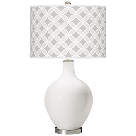 Winter White Circle Rings Ovo Table Lamp