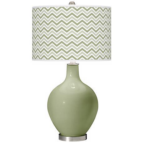 Majolica Green Narrow Zig Zag Ovo Table Lamp