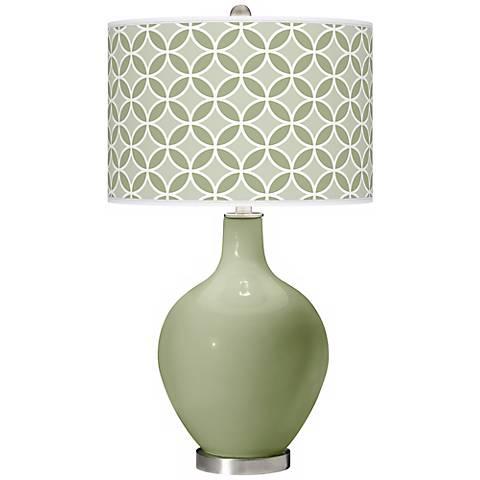 Majolica Green Circle Rings Ovo Table Lamp