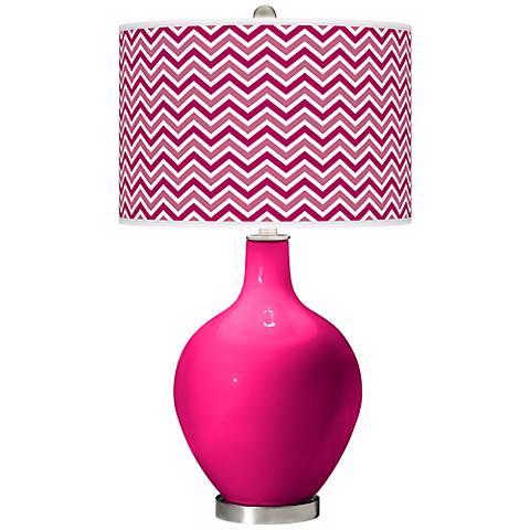French Burgundy Narrow Zig Zag Ovo Table Lamp