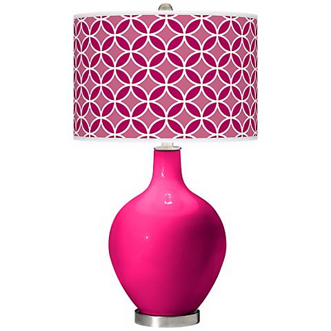 French Burgundy Circle Rings Ovo Table Lamp