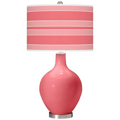 Rose Bold Stripe Ovo Table Lamp