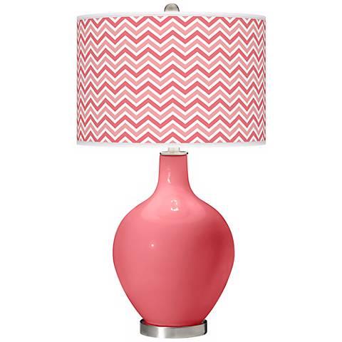 Rose Narrow Zig Zag Ovo Table Lamp