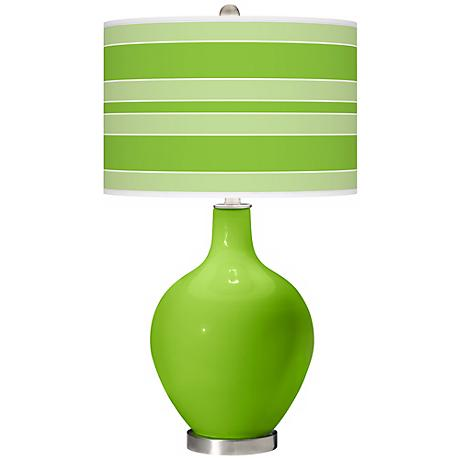 Neon Green Bold Stripe Ovo Table Lamp X1360 X9745 X9779