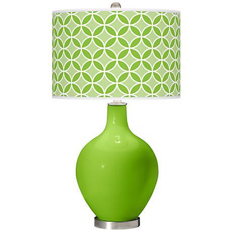 Neon Green Circle Rings Ovo Table Lamp