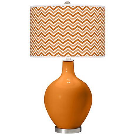 Cinnamon Spice Narrow Zig Zag Ovo Table Lamp