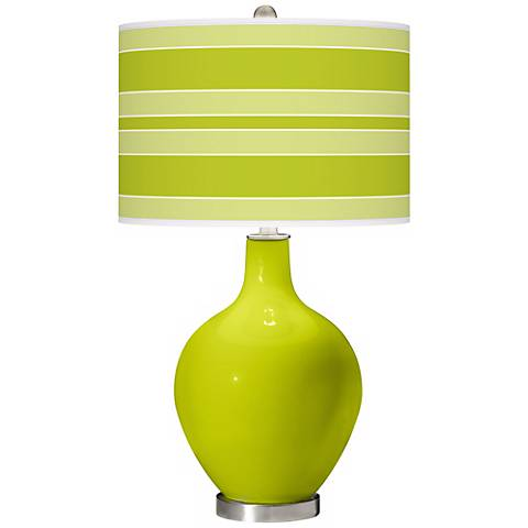 Pastel Green Bold Stripe Ovo Table Lamp
