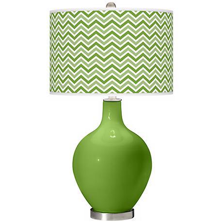 Rosemary Green Narrow Zig Zag Ovo Table Lamp
