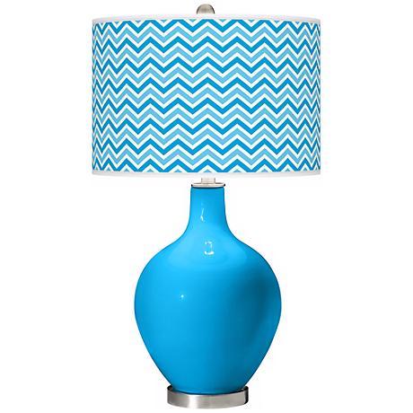 Sky Blue Narrow Zig Zag Ovo Table Lamp