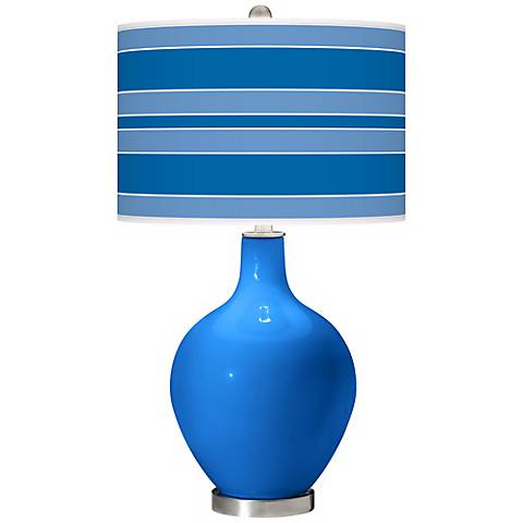 Royal Blue Bold Stripe Ovo Table Lamp