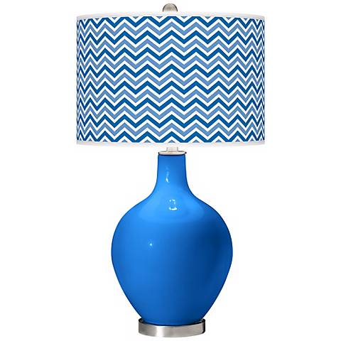Royal Blue Narrow Zig Zag Ovo Table Lamp