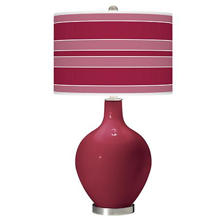 Antique Red Bold Stripe Ovo Table Lamp