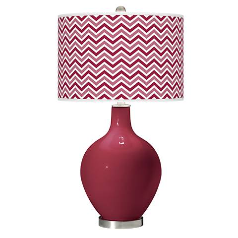 Antique Red Narrow Zig Zag Ovo Table Lamp