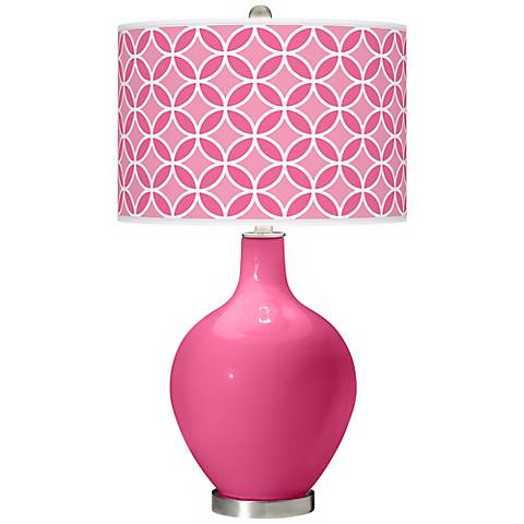 Blossom Pink Circle Rings Ovo Table Lamp