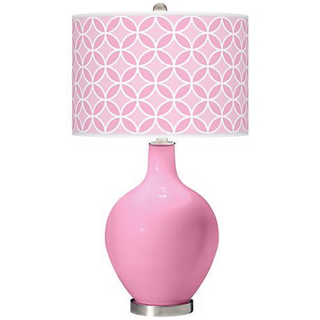 Pale Pink Circle Rings Ovo Table Lamp