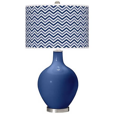Monaco Blue Narrow Zig Zag Ovo Table Lamp