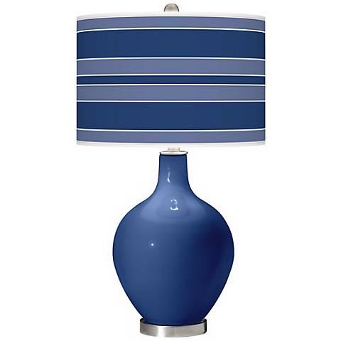 Monaco Blue Bold Stripe Ovo Table Lamp