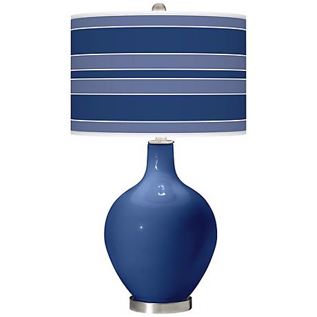 Monaco Blue Bold Stripe Ovo Table Lamp