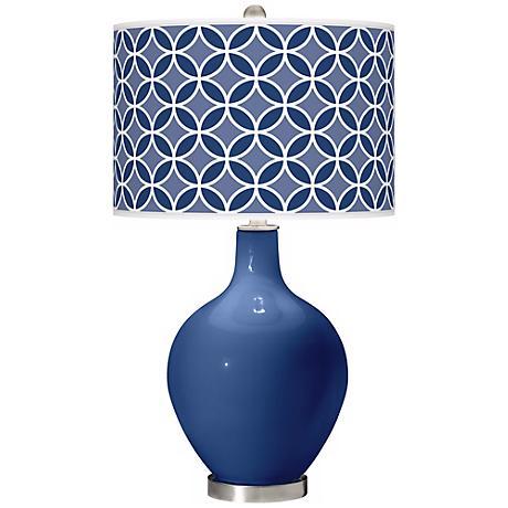 Monaco Blue Circle Rings Ovo Table Lamp