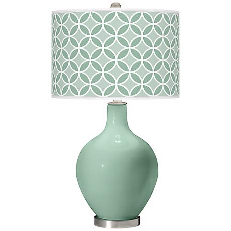 Grayed Jade Circle Rings Ovo Table Lamp