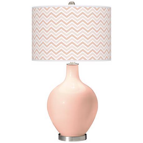 Linen Narrow Zig Zag Ovo Table Lamp