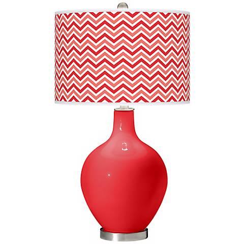 Poppy Red Narrow Zig Zag Ovo Table Lamp