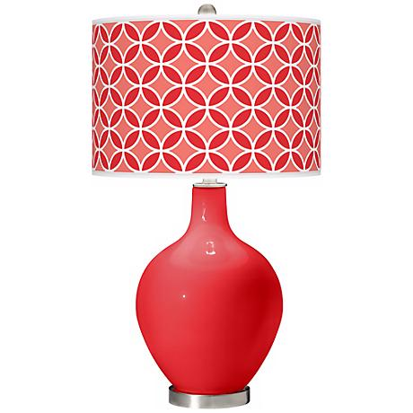 Poppy Red Circle Rings Ovo Table Lamp