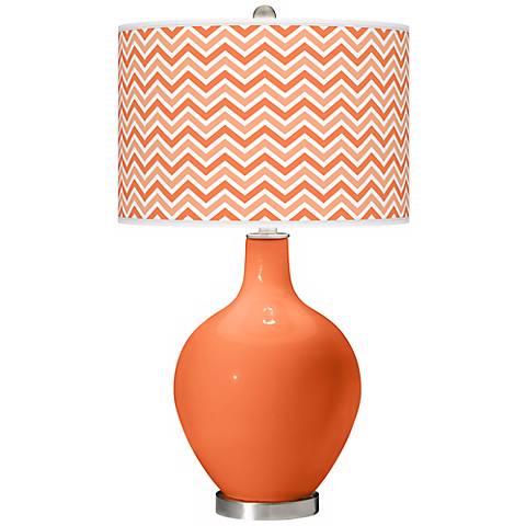 Nectarine Narrow Zig Zag Ovo Table Lamp