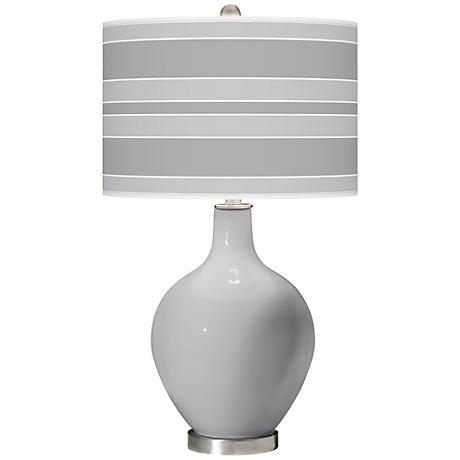 Swanky Gray Bold Stripe Ovo Table Lamp