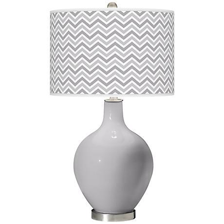 Swanky Gray Narrow Zig Zag Ovo Table Lamp