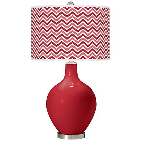 Ribbon Red Narrow Zig Zag Ovo Table Lamp
