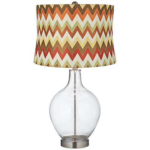 Red and Brown Chevron Shade Clear Fillable Ovo Table Lamp