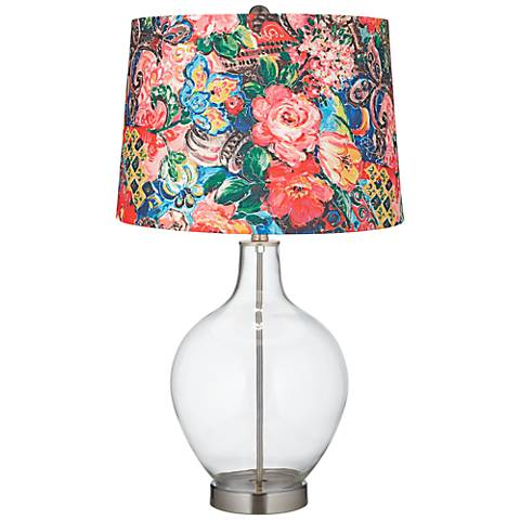 Clear Fillable Floral Digital Print Shade Ovo Table Lamp