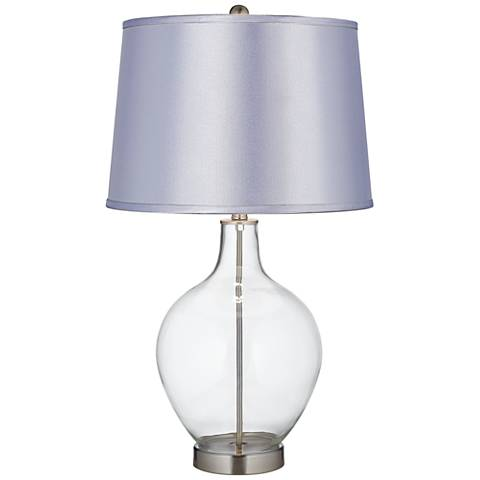 Satin Periwinkle Shade Clear Fillable Ovo Table Lamp