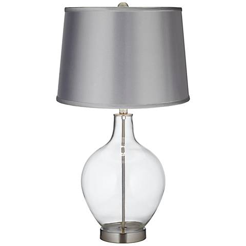 Clear Fillable - Satin Light Gray Shade Ovo Table Lamp