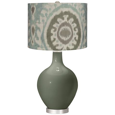 Deep Lichen Green Blue Batik Paisley Ovo Table Lamp