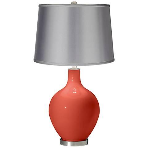 Koi - Satin Light Gray Shade Ovo Table Lamp
