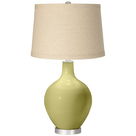 Linden Green Burlap Drum Shade Ovo Table Lamp