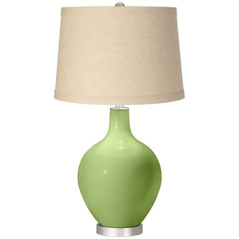 Lime Rickey Burlap Drum Shade Ovo Table Lamp
