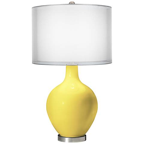 Lemon Twist Double Sheer Silver Shade Ovo Table Lamp